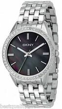 DKNY SILVER TONE S/STEEL BRACELET+BLACK MOP DIAL+CRYSTALS CLASSIC WATCH NY4927