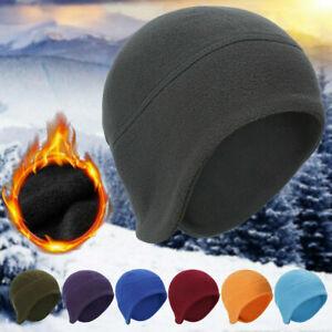 Mens Winter Warm Hats Polar Fleece Beanie Hat with Ear Cover Skull  Windproof