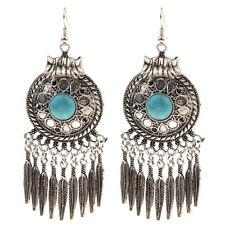 Women Bohemian Style Lady Long Pendant Vintage Turquoise Tassel Earrings