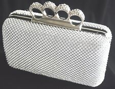 New Silver Diamante Crystal Stone Knuckle Evening bag Clutch Purse Party Prom
