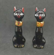 Vintage Salt & Pepper Shakers Tall Thin Black Cats 4""