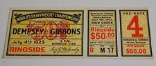 Jack Dempsey vs Gibbons 1923 Ticket Stub Post Card Shelby, Montana
