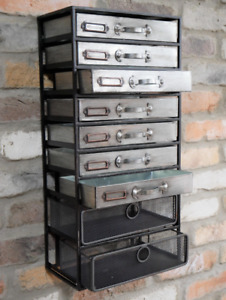 Industrial Wall Cabinet Rustic Metal Apothecary Chest Drawers Vintage Storage
