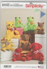 Simplicity Sewing Pattern 8442 - Stuffed Felt Animals - Frog Bear Cat Dog