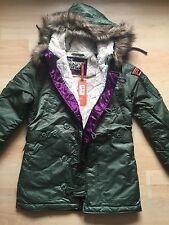 Superdry Women's SD - 3 Parka Sage Green Size L RRP £124.99