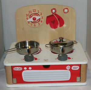 Hape child's wooden tabletop stove w/ 2 metal pans Switzerland