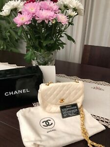 Chanel Ivory quilted lambskin purse/bag chain box dustbag Card Vintage Authentic
