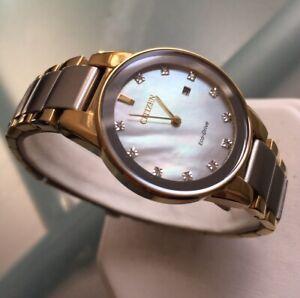 Ladies Genuine Citizen Eco Drive Solar Watch Diamond Mop Gold GA1054-50D Date