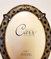 "Carr Frame by Burnes of Boston Oval  5""x7"" Enamel Gold Black diamond shapes"