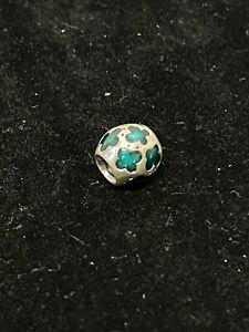 Authentic Pandora 925 ALE Silver Butterfly Charm Teal / Turquoise Enamel Retired