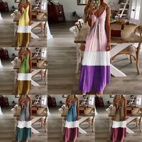 Ladies Boho Strap Sleeveless Long Maxi Dress Womens Casual Beach Party Sundress