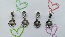 4 Tibetan Silver Sunflowers charms With Bail Beads