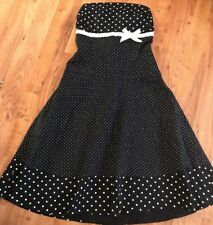 ladies Navy Blue polka dot Strapless dress New Look Size 8