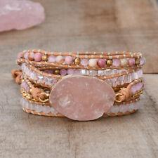 Rose Quartz Raw Crystal Natural Stone 5 Layers Leather Wrap Women Yoga Bracelet