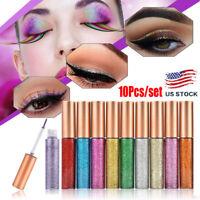 10pcs Sexy Waterproof Shimmer Eyeliner Glitter Pigment Metallic Liquid Glitters