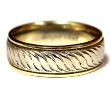 14k yellow white gold art carved wedding band ring 7.4g comfort fit vintage