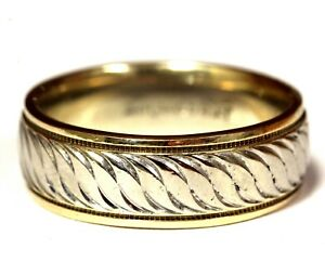 14k yellow white gold art carved wedding band ring 7.4g comfort fit 7 art deco