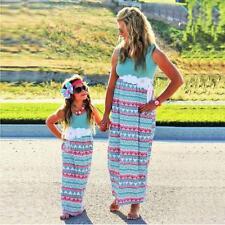 New Summer Gwon Party Dress Women Kid Girls Long Dress Mother And Daughter Wear