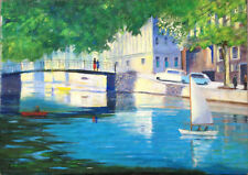 Leo Scheu Original Acrylic on Canvas Painting of Canal / River