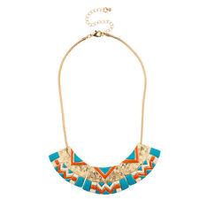 Lux Accessories Turquoise & Orange Tribal Bib Statement Necklace