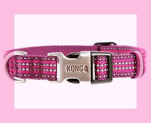 "KONG MAROON Silver w/ Reflective strips HTF Metal Buckle Dog Collar XL 20-28"""