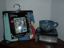 Disney LILO STITCH Plush Fleece Blanket Throw Bedding 48 x 60& Soup Bowl & Spoon