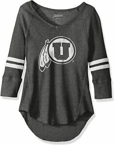 NCAA Utah Utes Juniors Relaxed 3/4 Sleeve Raglan Thermal Top Gray Size M