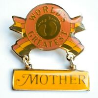"""Vintage 1981 Jewelry """"World's Greatest Mother"""" HANG TEN JEWELRY CO Gold Tone Pin"""