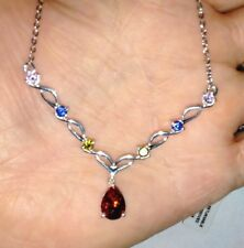 Simulated Multi Color Diamond Sterling Silver & Stainless Steel V Shape Necklace