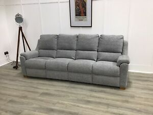 Parker Knoll 4 Seat Seater Electric Reclining Sofa In Grey Fabric (Albany)