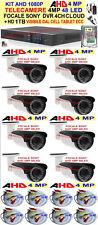 KIT 1080P VIDEOSORVEGLIANZA AHD 8 TELECAMERE 4MP FOCALE SONY+ DVR + HD 1TB +CAVI