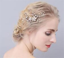 Strass coiffure mariée cheveux peigne or perles floral mariage strass
