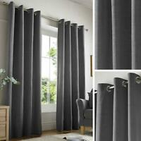 Charcoal Grey Eyelet Curtains Chenille Plain Lined Ring Top Curtain Pairs