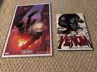 Marvel Venom lot w/Hard Cover book by Remender and 2 art prints signed by Moore!