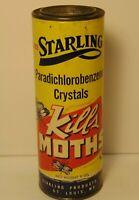 Old Vintage 1950s Starling Kills Moth Graphic Advertising Tin St. Louis Missouri
