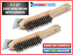 2x STAINLESS STEEL WIRE BRUSH WITH SCRAPER FILLER BBQ GRILL OVEN CLEANING CT2804