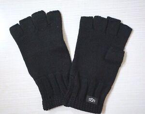 NWT UGG Women's Knit Fingerless Gloves, Black, One Size