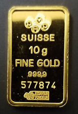 10 GRAM PAMP SUISSE LADY FORTUNA GOLD BAR INGOT (WITH ASSAY - LOOSE) #577874