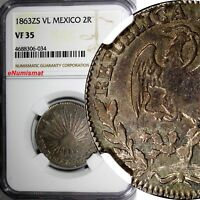 Mexico FIRST REPUBLIC 1863 ZS VL 2 Reales NGC VF35 1 GRADED HIGHEST KM# 374.12