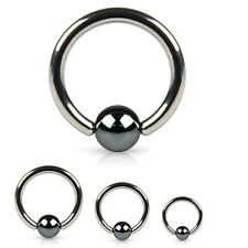 Surgical Steel Captive Bead Ring Hematite Plated Bead 18G 16G 14G 12G 10G