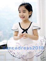 New Girls Kids Ballet Tutu Dance Costume Short Sleeve Leotard Skirt Dress Cotton