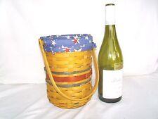 American Celebration Wine Beverage Basket Starburst Liner Prot Tote Longaberger