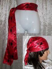 Pirate Bandana Waist Sash Red Black Silver Skull Crossbones Book Day Fancy Dress