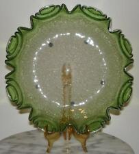 Craquelle Overshot Harrach Double Crimp Green Overlay Art Glass Bowl