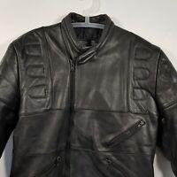 Mens Vintage 80s Black Leather Biker Jacket Size 60 Leather Motorcycle Jacket#L8
