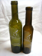 2 Olive Oasis Olive Oil Bottles Green Glass Troy Ohio - Great Bud Vases