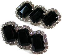 So Elegant!! Vintage Juliana Jet Black & Crystal Rhinestone Clip Earrings