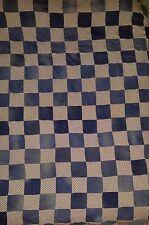 """Vintage 1970s Quilt Top PATCHWORK RAILROAD STRIPE & BLUE JEANS Fabric 95"""" x 95"""""""