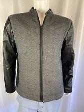 CK Calvin Klein Sweater Jacket, Zip Up, Black & Gray, Wool, Men's Size XLarge