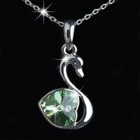 18k white gold gp made with green SWAROVSKI crystal swan heart pendant necklace